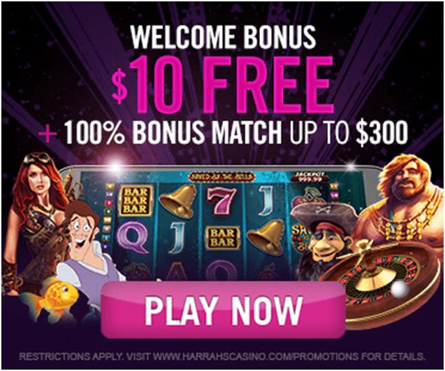 $10 free no deposit bonus at Harrah's online casino