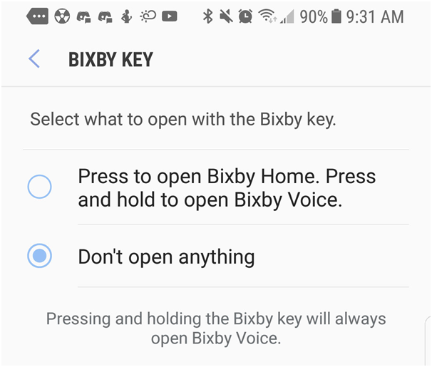Disable and enable Bixby Key in Samsung Galaxy smartphones