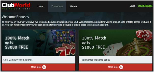 Club World Casino- Promotions