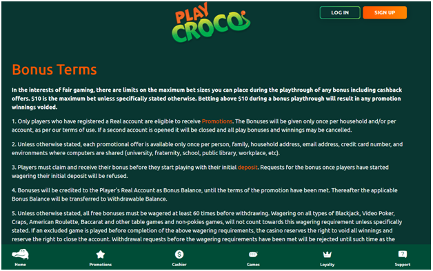 Fair Bonus Policy At Play Croco Casino
