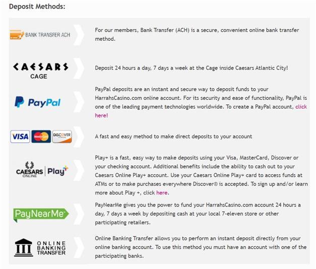 Harrahs online casino deposits