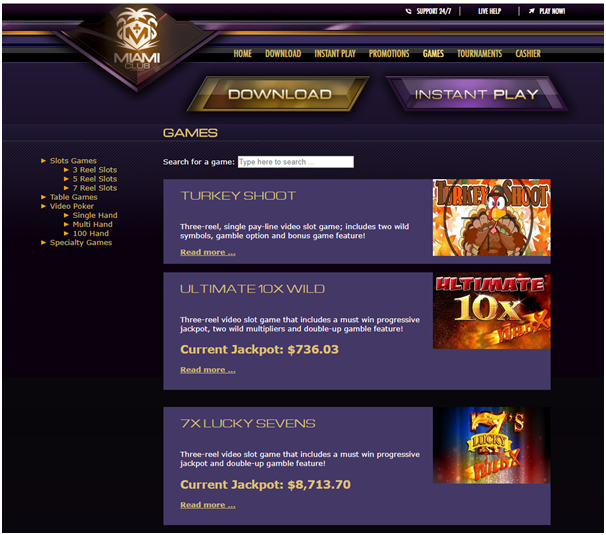 Miami Club Casino Games to play