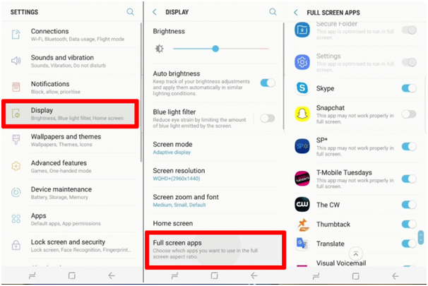 Full screen option at Samsung Galaxy Note 8