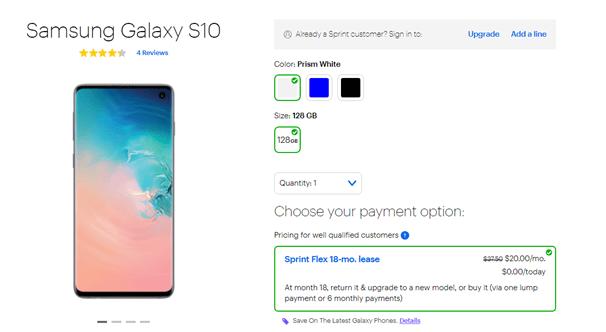 Samsung Galaxy Sprint offers