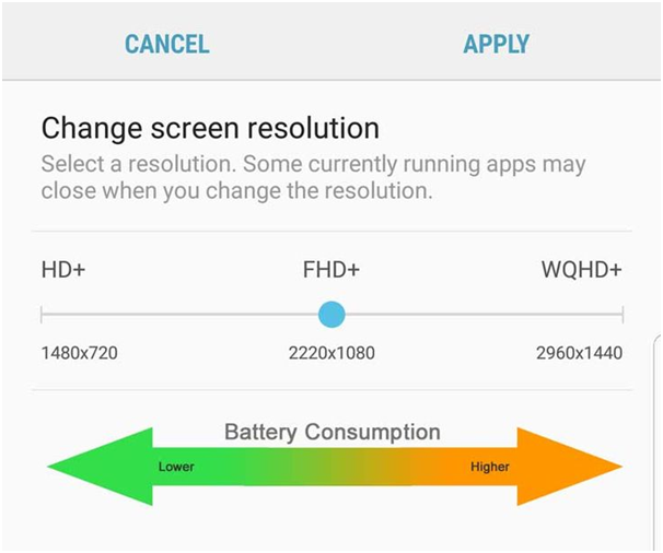 Samsung Galaxy S8- Lower the resolution to increase speed