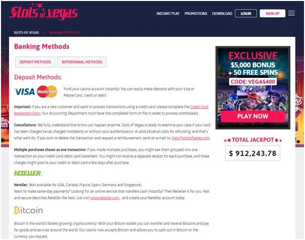 Slots of Vegas offers various deposit options