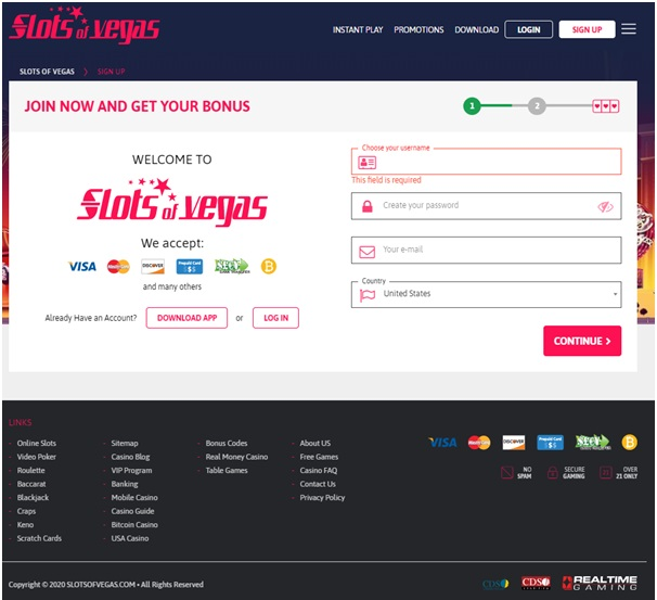Slots of Vegas register as a new player