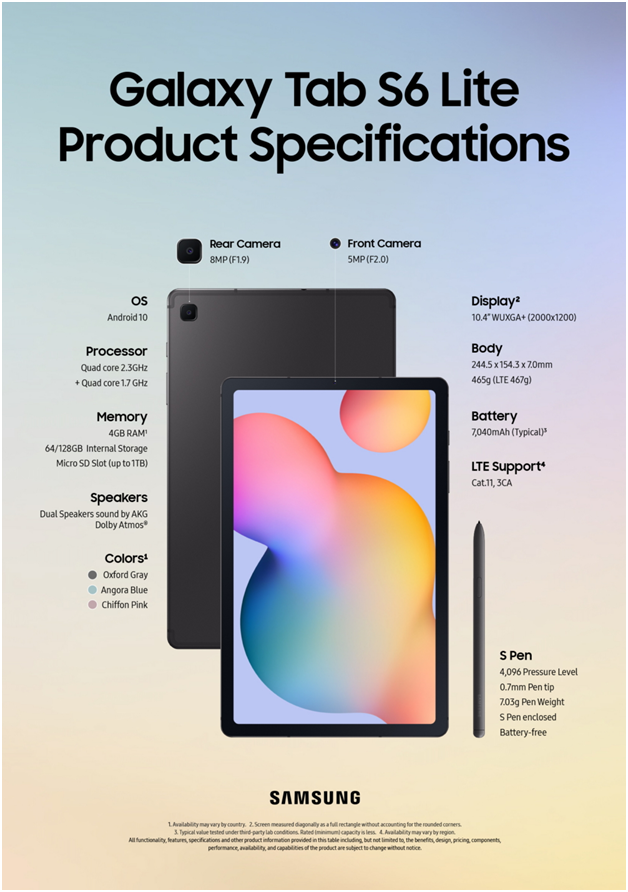 Samsung Galaxy Tab S6 Lite Specifications