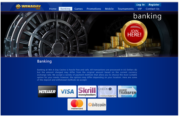 Banking at Win A Day Casino