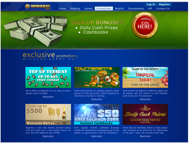 Bonuses at Win A Day Casino
