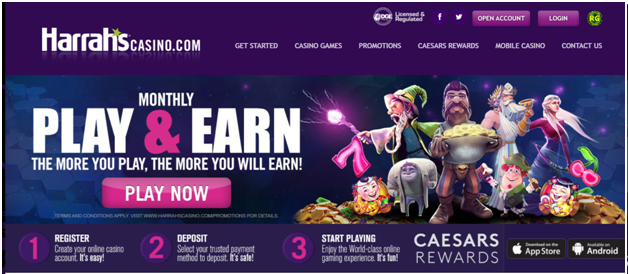 play slots at Harrah's online casino